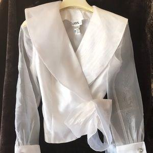 Ladies white Tafeta blouse with sheer sleeves